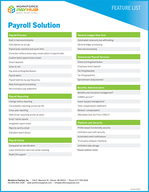 Michigan Payroll Solution Features List
